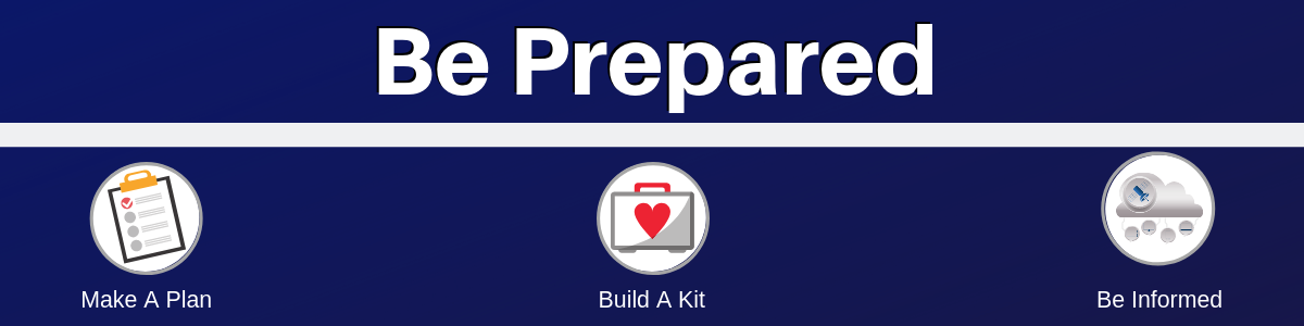 Be Prepared, Make A Plan, Build A Kit, Be Informed