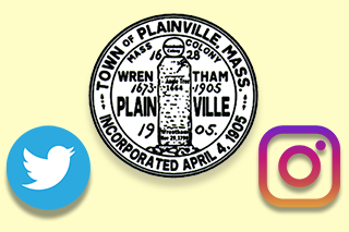 Plainville Town Seal, Twitter logo, and Instagram logo.