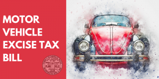 Image of a car with the text Motor Vehicle Excise Tax Bill