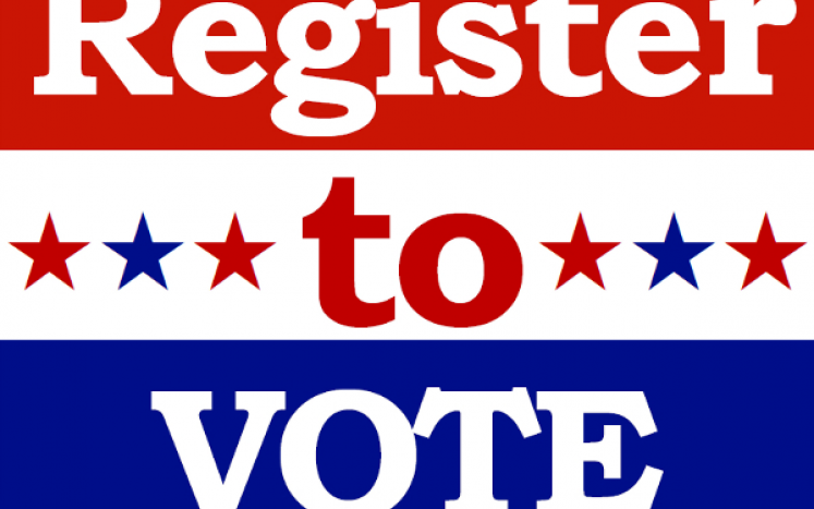 """red, white and blue sign that says """"register to vote"""""""